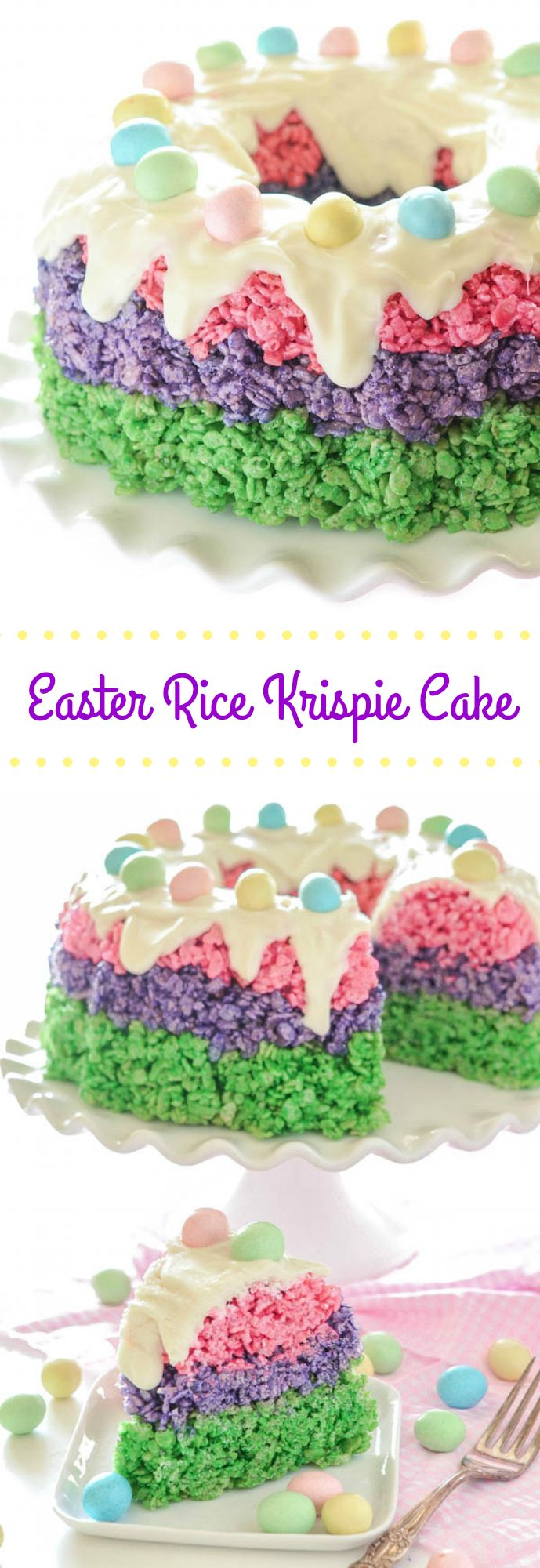 LOVE LOVE LOVE this Easter Rice Krispie Cake! So easy! Festive easy no-bake dessert for #Easter!