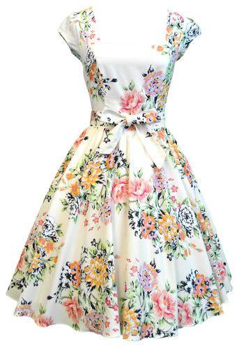 Lady Vintage 50s SOFT PINK VTG FLORAL Swing Dress, Rockabilly  Sizes 8-22