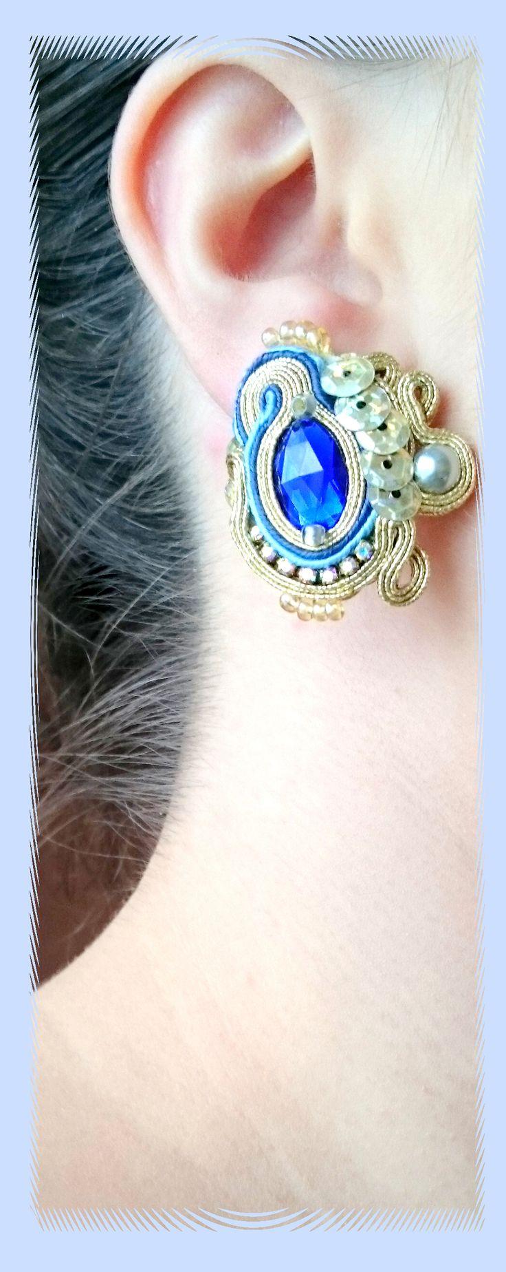 """kolczyki sutasz złoto niebieskie, cekiny Facebook: """"Soutache, beads, Shibori Cristallin, sutasz i koraliki"""""""