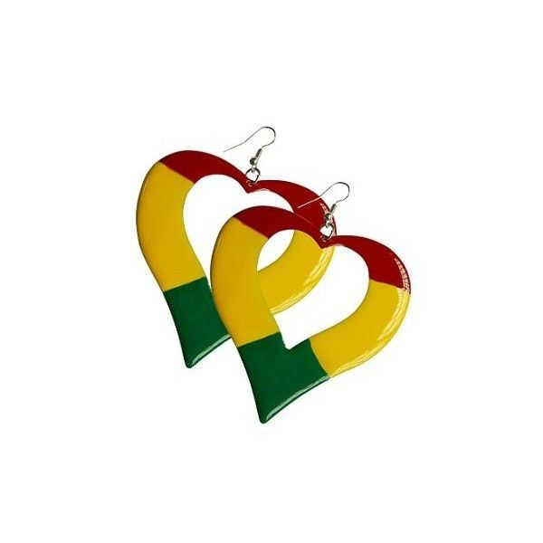 New Bob Marley Rasta Colors Reggae Heart Shape Hoops Earrings # P091-217  #Earrings #Hoop
