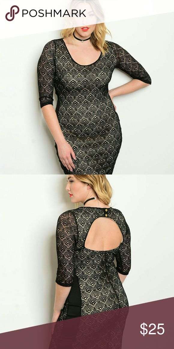 Black nude plus size dress Black nylon, spandex dress with open back, three quarter sleeves,  stretchy material. Dresses Mini