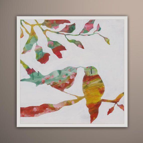 Bird Tree painting, Birds Painting, Original Art oil on canvas, birds love, Art by Lara Wonderland