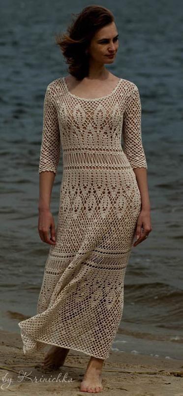 ivory crochet dress by Krinichka on Etsy