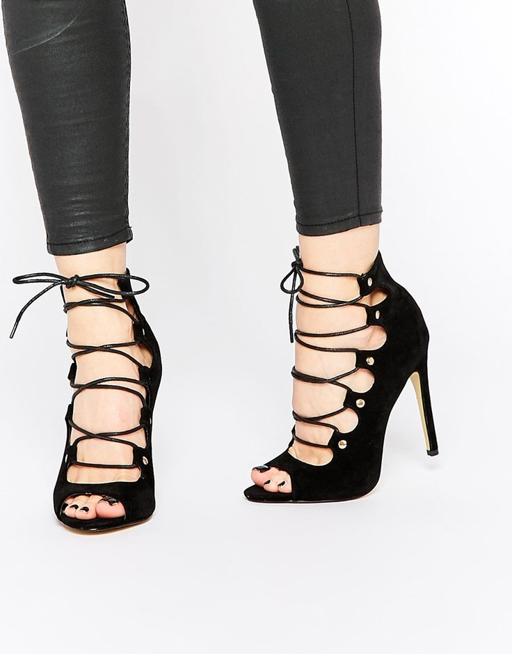 Public Desire Romana Black Ghillie Lace Up Heeled Sandals
