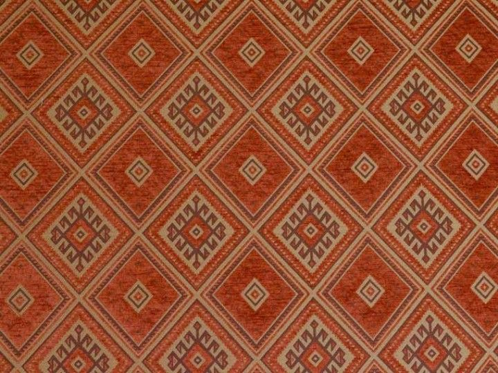 Brockhall Designs Terracotta Mayan Kilim Fabric Curtains And Upholstery