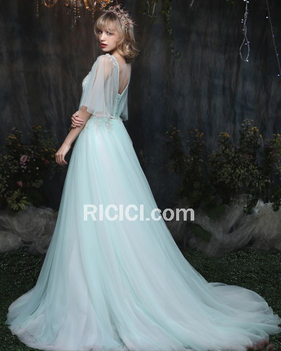 Tulle Appliques Backless Half Sleeve Low Cut Light Blue Princess Sweet 16 Prom Evening Dresses Long Chic Sexy - Ricici.com  #gowns #fashion #dresses #promdress #partydress #occasionwear #ricicifashion