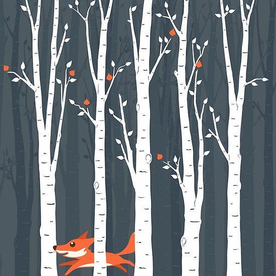 Fox running in the woods