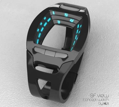 SF View concept watch ~ The watch's face may look weird, but telling time on it is actually quite easy. Time is told by looking at the numbers in the center and reading them top down. The hours are displayed in military time with the minutes appearing in the two columns below.