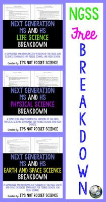 This blog post explains a FREE product designed to help you understand the Next Generation Science Standards (NGSS) for both middle school and high school. These standards, and the details behind them, have been re-organized to be easier to read, understand, and implement in your classroom as you design your curriculum. Enjoy this teacher-friendly breakdown - By: It's Not Rocket Science