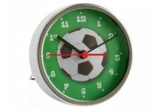 Jongens voetbalklok chroom diameter 9cm. excl.1AA batterij.