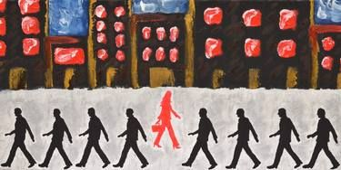 Available: Original Painting: Above The Tide by Sandra Spalding #woman #man #women #men #feminist #city #walking #silhouettes #briefcase #business #Businesswoman #ModernWoman #Red #Black #Power #Empowerment #Voice #Gender #GenderEquality #equality #HighHeels #Metropolitan #Strolling #shadows #Figures #CivilRights #WomenRights #EqualOpportunity #Identity #Uniformity #Fairness #Impartiality #Feminism #Masculine #Common #rights #EqualRights #Career #Industry #DailyGrind #OriginalPainting