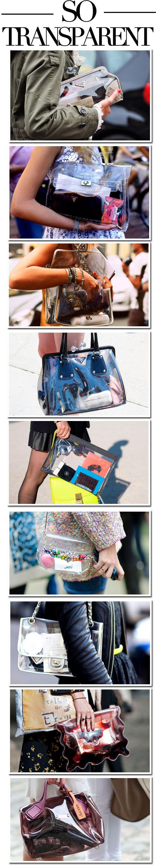 Prepare-se para tomar mais cuidado com o que você leva na sua bolsa. As bolsas transparentes estão invadindo a moda. Valentino fez a sua versão da bolsa queridinha de tachas. Burberry também desfil…