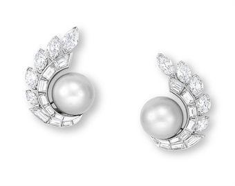 Pair of Natural Pearl & Diamond Ear Clips by Van Cleef & Arpels