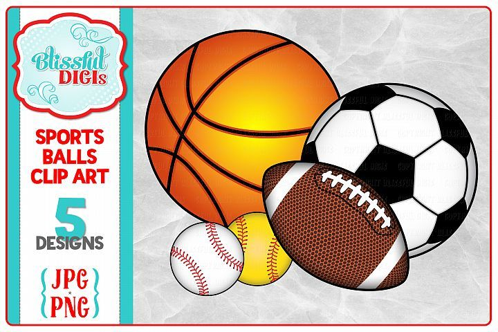Sports Balls Clip Art Baseball Football Soccer Basketball Sports Balls Soccer Football Soccer
