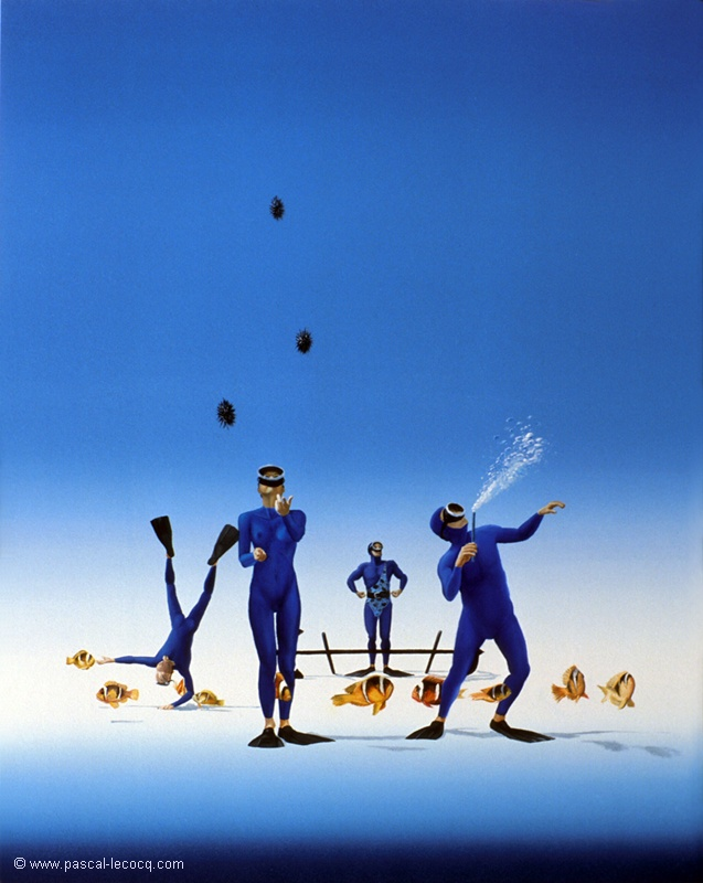 """OLYMPIC GAMES 2012, Aug 3rd: Weightlifting Men's 85kgFinal  pic: """"CRACHEUR DE FEU"""" - Eater Fire- oil on canvas by Pascal Lecocq, The Painter of Blue ®,20""""x16""""51x41cm, 2001, lec598, private coll.Olympia, OR. ©www.pascal-lecocq.com."""