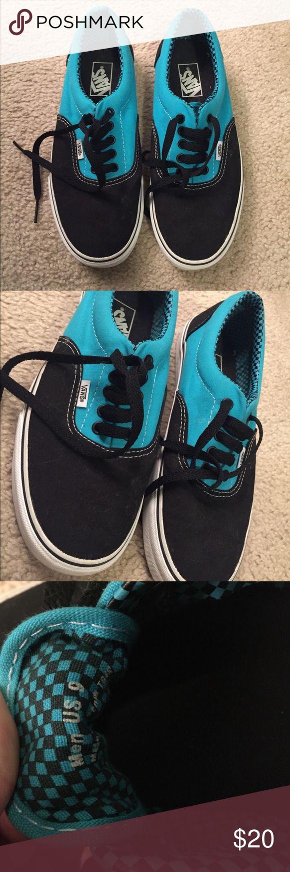 Black and teal vans Black and teal vans like new, black laces. Men's size 9 Vans Shoes Sneakers