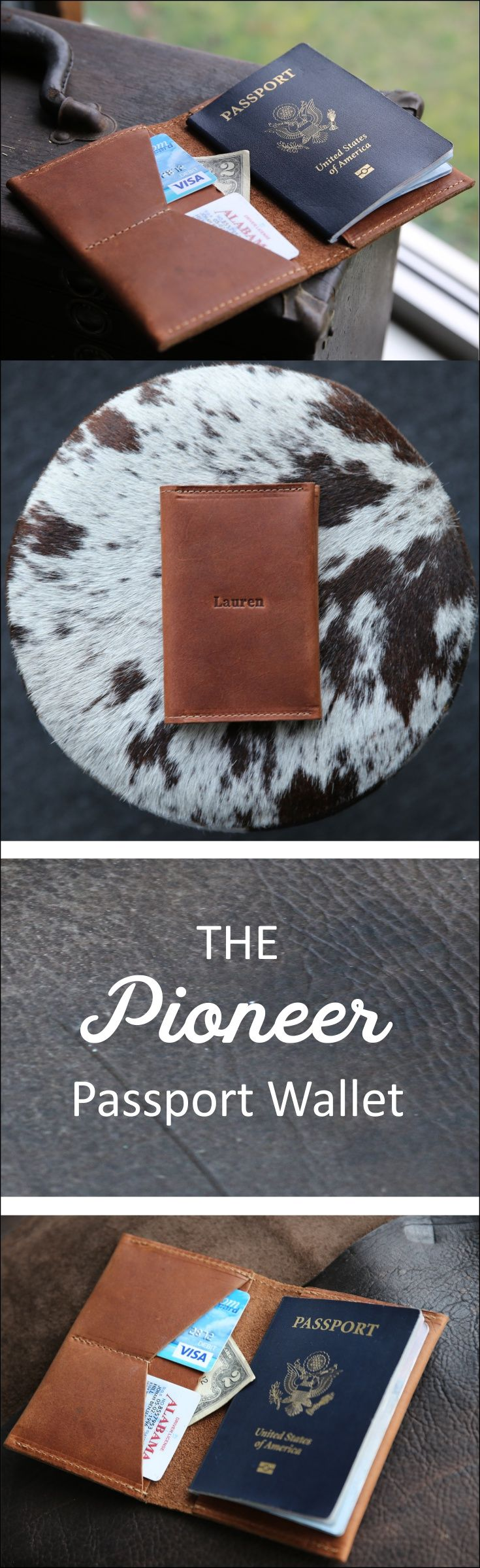 The Pioneer Fine Leather Passport Wallet is a unique and timeless item! It is handmade right here in our shop with the finest of Full Grain American leathers. We hand–pick our leather hides from a local tannery for a rustic look and feel. This is a gift that will be used and loved for a lifetime! It's perfect for the executive, professional, father, or dear friend in your life.