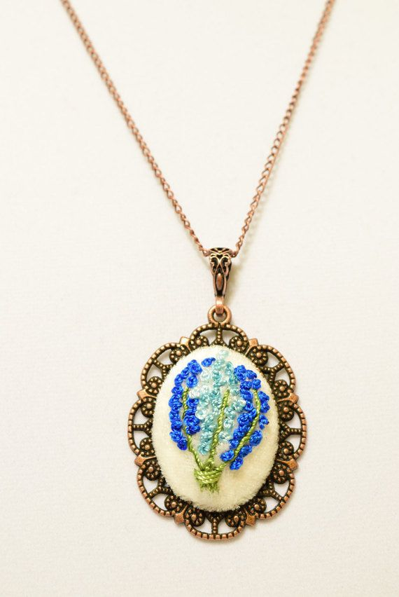 Victorian Embroidered Blue Bouquet  Necklace by Anatoliagems