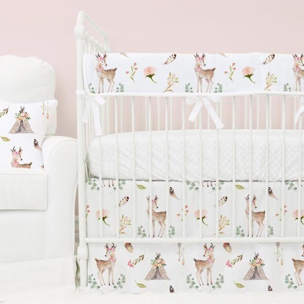 Boho Woodland Deer Nursery Bedding