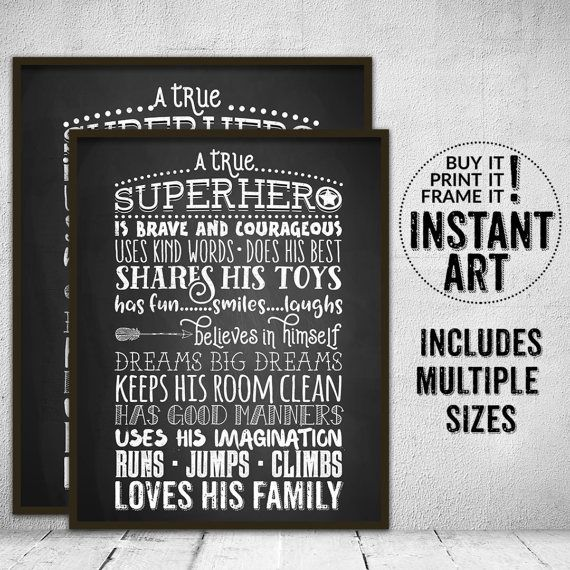 Un verdadero superhéroe reglas para niños signo pizarra pared imprimibles niño habitación decoración - reglas del super héroe - sala de juegos pared arte cuadrado para imprimir
