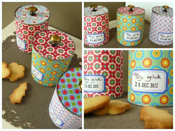 Potjes geluk ... Conservenblikjes versieren en vullen met zelfgemaakte koekjes