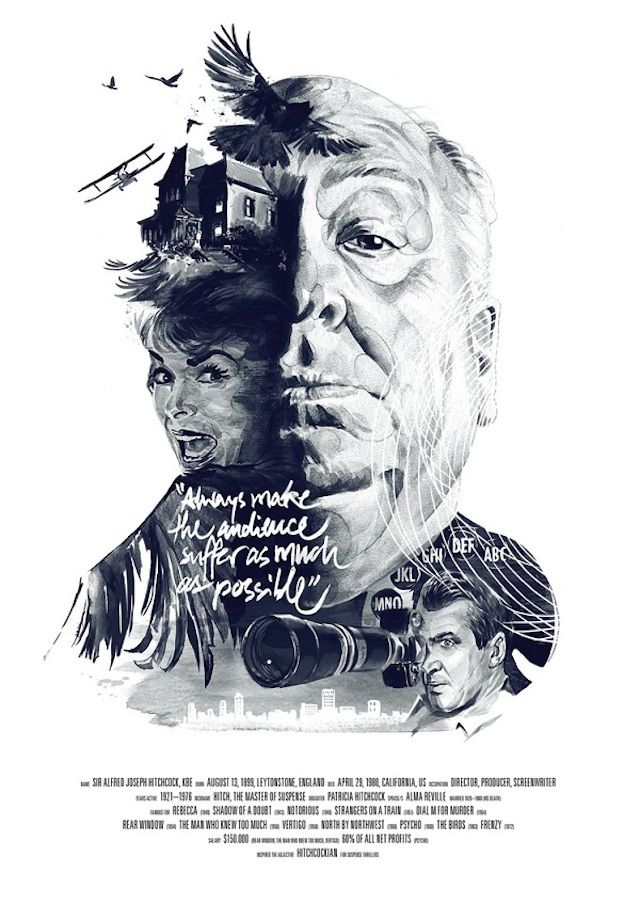 "Illustrated Posters Celebrating Famous Movie Directors  German illustrators Julian Rentzsch and Stellavie Design Manufaktur have collaborated to pay tribute to three famous directors Martin Scorsese, David Lynch and Alfred Hitchcock, through their posters ""Movie Director"". The prints shows a portrait of the director with symbolic patterns belonging to his filmography and a quote."