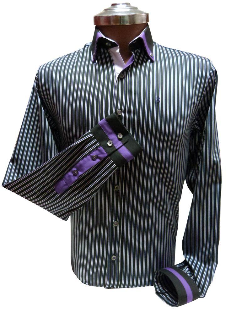 Camisa negra a Rayas - Slim Fit 100% algodón con aplicaciones en cuello y puños. Ehgho - Perú.