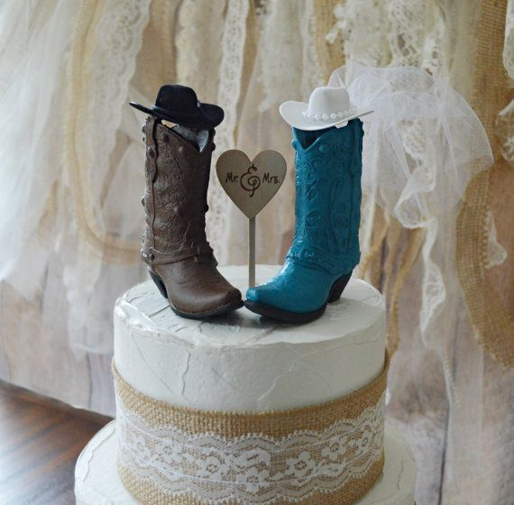 cowgirl cowboy boot wedding cake topper by MorganTheCreator
