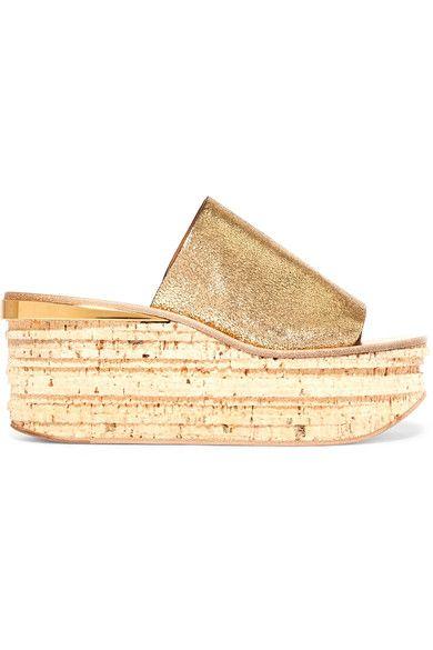 Chloé - Camille Metallic Cracked-leather Platform Sandals - Gold - IT40.5
