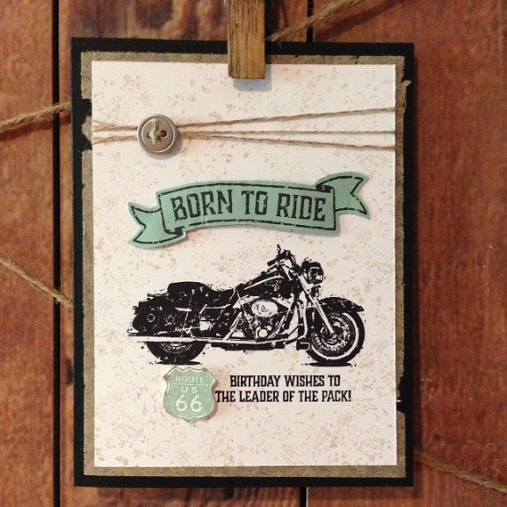 MOTORCYCLE Handstamped Greeting Card for Birthday by ControlledInk