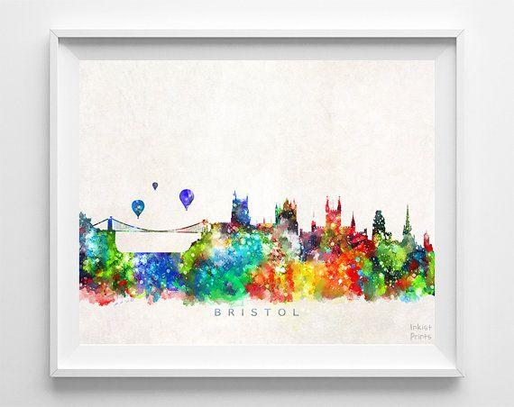 Bristol Skyline Print, England Print, Bristol Poster, England Cityscape, Watercolor Art, Wall Decor, City Skyline, Art, Easter Decorations