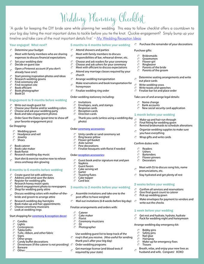 Printable Wedding Planning Checklist for DIY Brides Weddings - wedding list