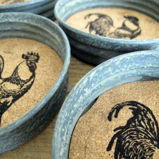 Mason Jar Lid Coasters! Flippin cute.. @Evan Chandler, can you make these!?!? :)