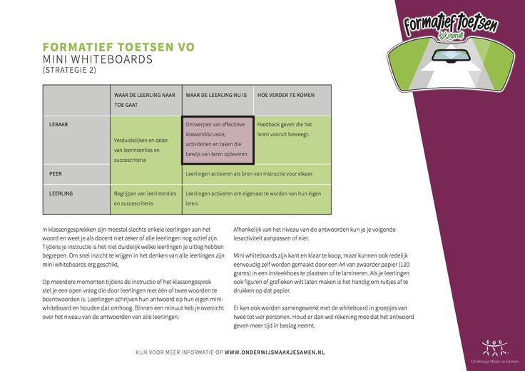 Formatief Toetsen - Mini whiteboards - strategie 2