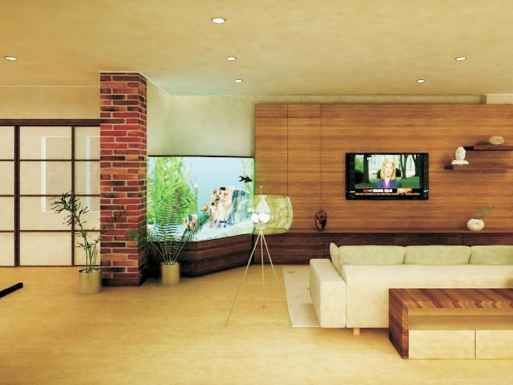 Serenity Reigns Supreme In This Spacious Living Room That Features A Corner  Aquarium, A Wood