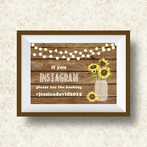 Wedding Instagram Sign Printable, Digital File - Instagram Wedding Hashtag Sign - Rustic Wedding Sign