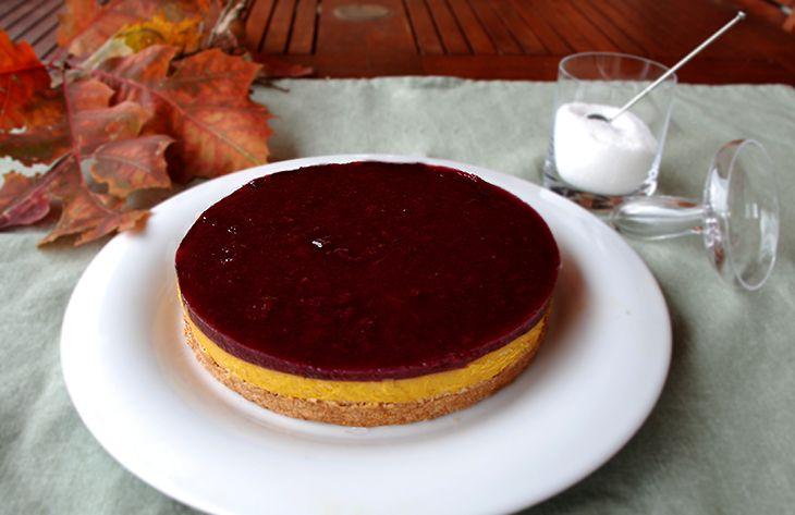 Cheesecake light alla zucca con coulis  di lamponi