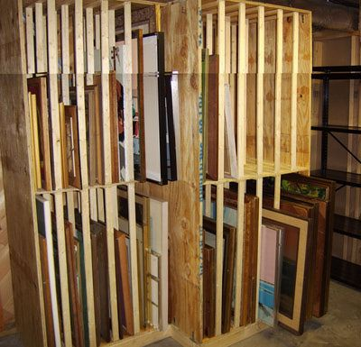 This DIY rack for storing paintings is about 4x8 feet (1.2 x 2.4 metres).