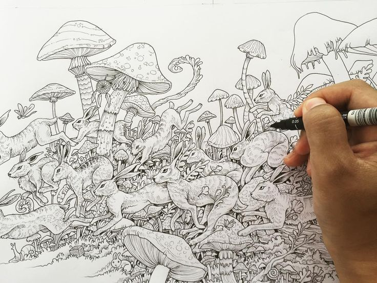 Spread from my next colouring book imagimorphia dropping for Imagimorphia coloring pages