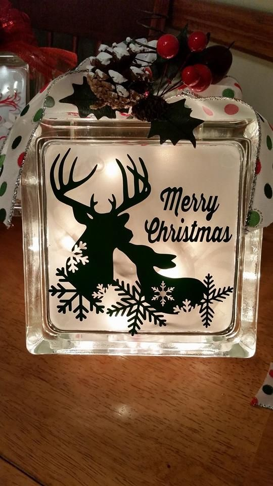 Love the positive and negative space with the snowflakes on this one with the deer. Glassblock night light - hostess gift - vinyl cut with Silhouette Cameo. By AWR. Silver vellum inside the block.