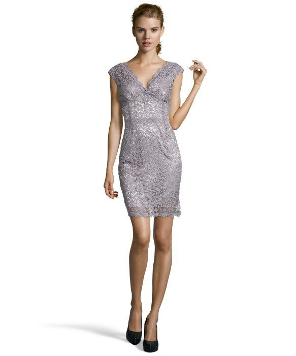 Marina taupe metallic cap sleeve lace sheath dress