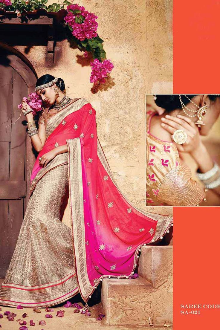 Pink Georgette Bridal Saree