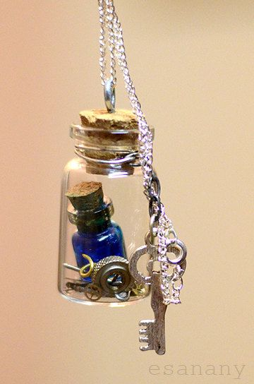 Vial in a Vial Steampunk Blue Potion Necklace by esanany on Etsy, via Etsy.