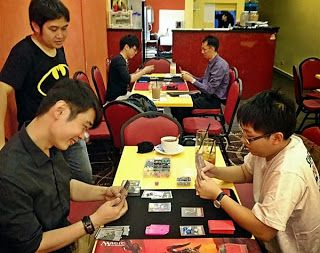 Playing the physical trading card game, Shadow Era, in Singapore. More pictures on  Raphael Majere's Online TCG Blog