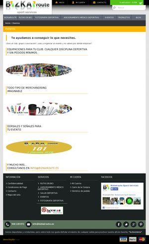 Parte de la pagina web de Bizkairoute que explica todo el abanico de equipacion y mechandising que pone a disposición de sus usuarios. Esta  pagina esta creada por Denocheydia empresa de que se dedica a la creación de paginas web en Bilbao.