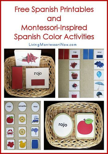 A long list of free Spanish printables plus ideas for creating Montessori-inspired Spanish color activities using some of the printables.