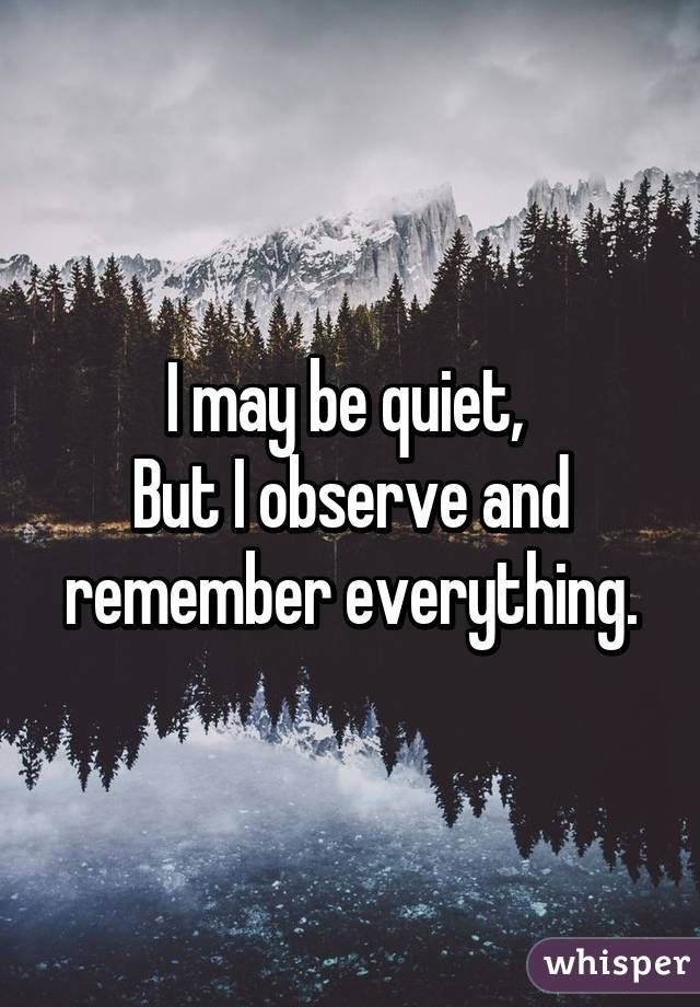 I may be quiet,  But I observe and remember everything.