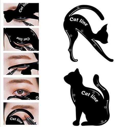 Being Spring 2 in 1 Cat Eyeliner Stencil Smoky Eyeshadow Template Professional Multifunction Black Cat Shape Eye liner & Eye Shadow Guide Template (5 PACK) - beautysupplystore.us