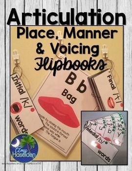 Articulation, speech therapy, place, manner, voicing, flipbooks, motor speech, visual cards, grab and goDo you need visual motor cards to show your students the place, manner and voicing to help them correctly produce the sounds they are misarticulating? Repinned by SOS Inc. Resources pinterest.com/sostherapy/.