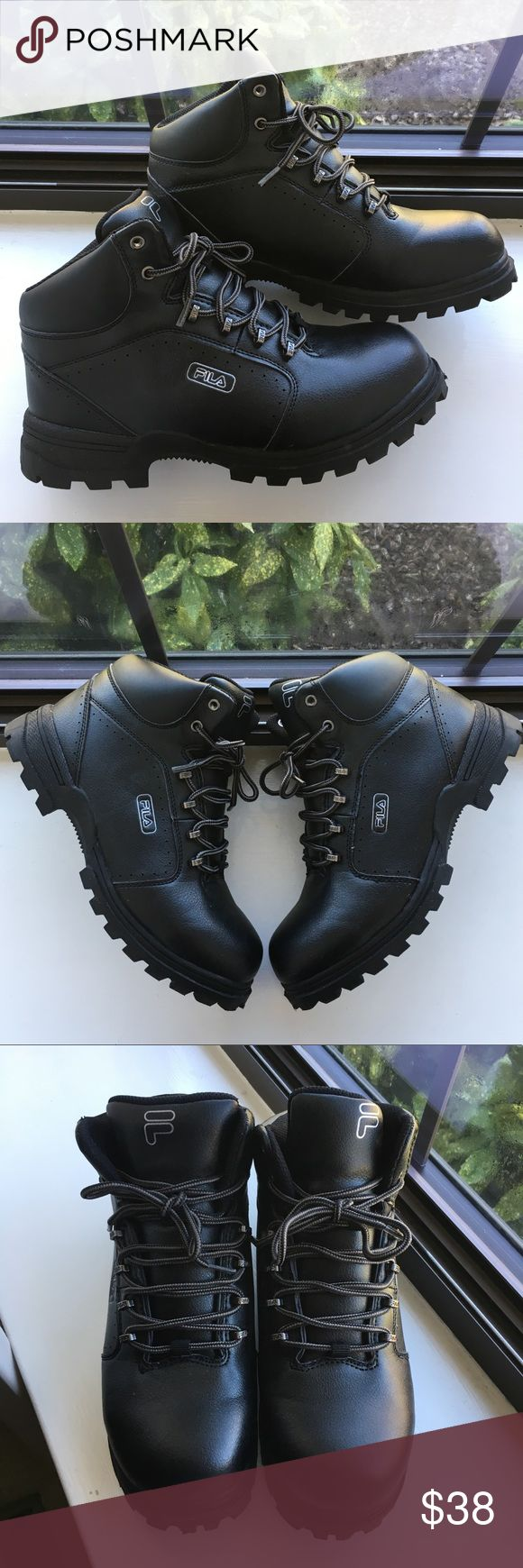 FILA Black Hiking Boots size 6.5 FILA Black Hiking Boots  Kids size 6.5 Great condition, like new. My son wore them once only to school. He doesn't like high tops. Questions? Please ask prior to purchasing. Fila Shoes Boots